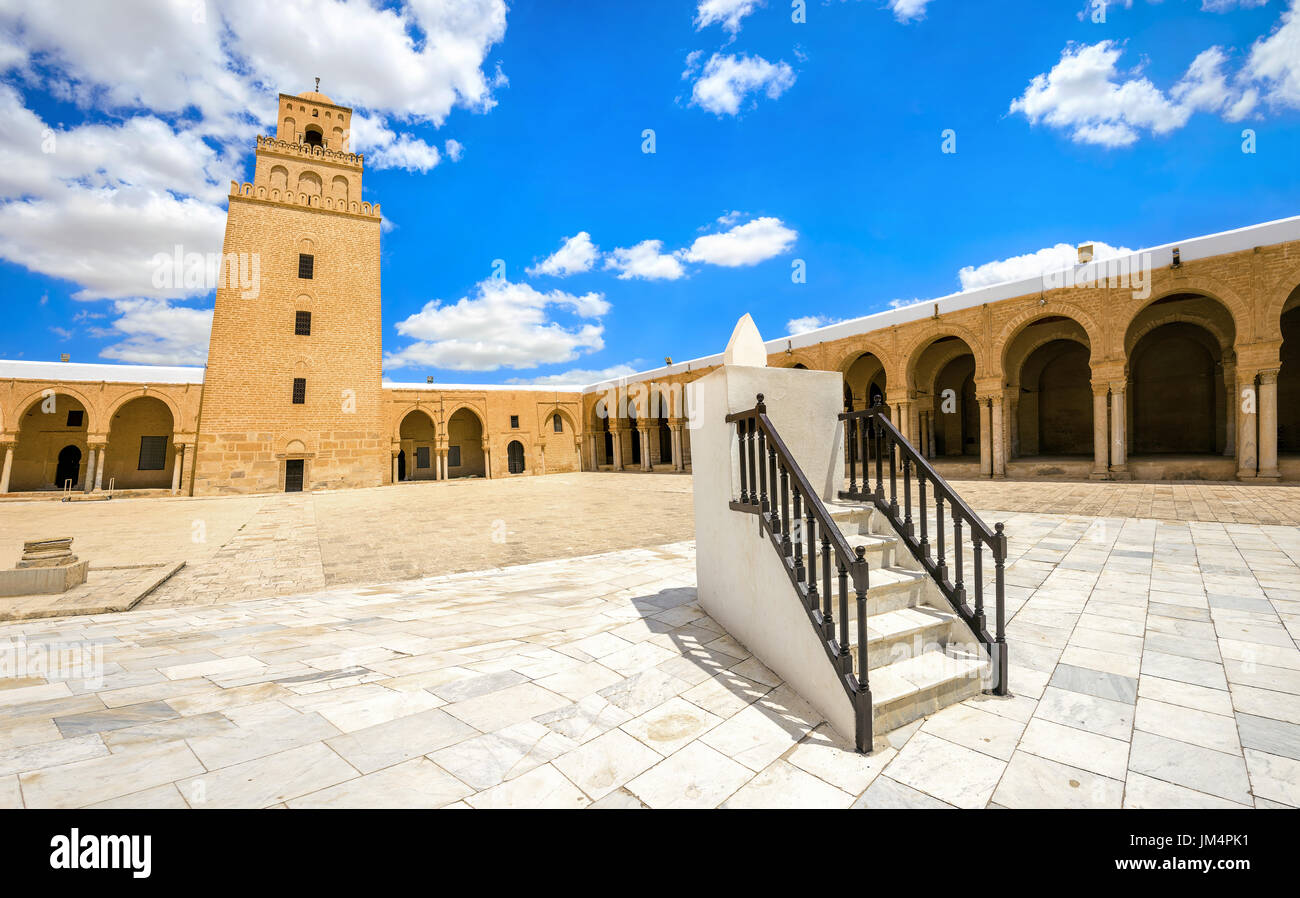 Ancient Great Mosque and sundial in Kairouan. Tunisia, North Africa - Stock Image