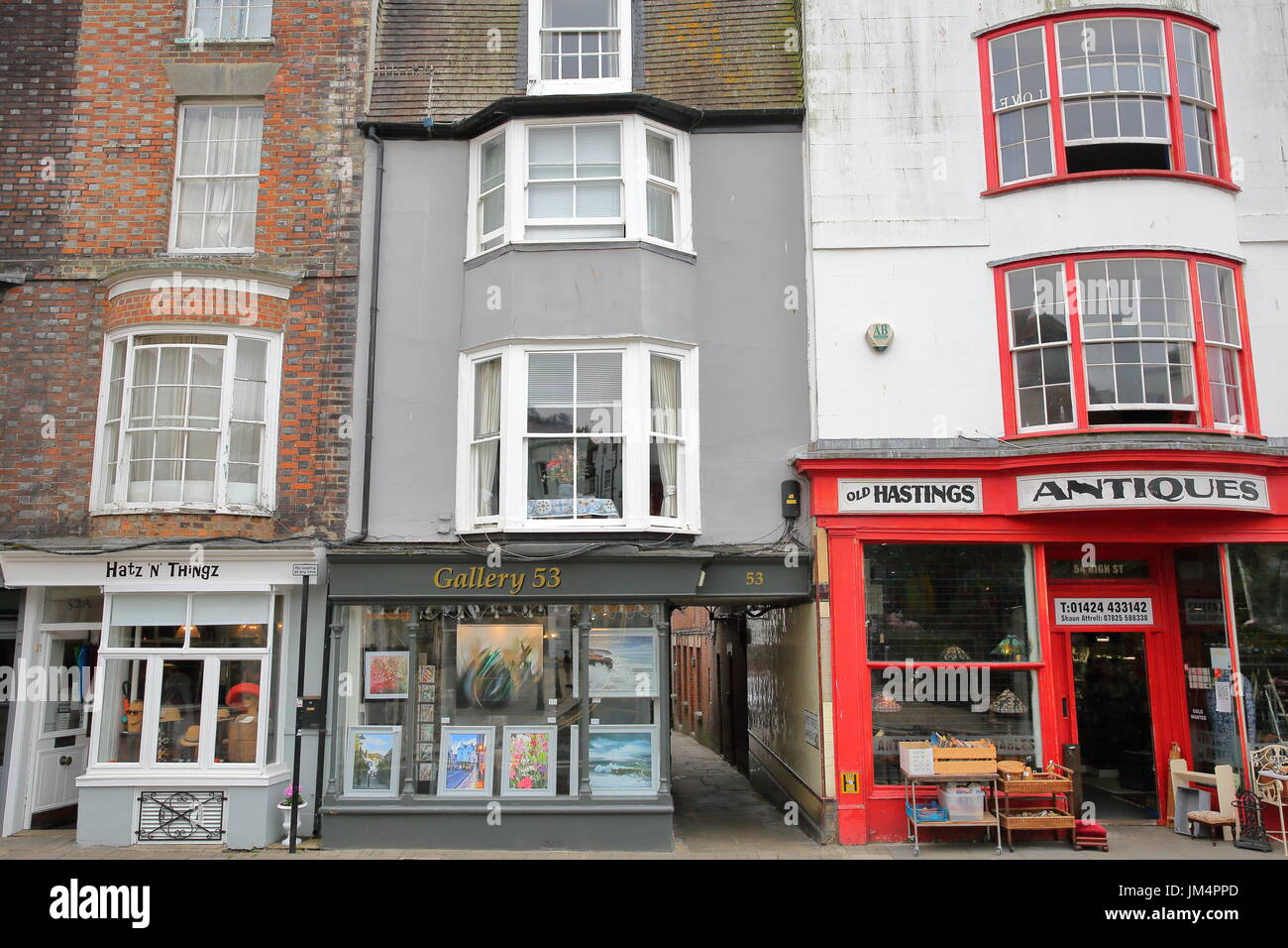 HASTINGS, UK - JULY 22, 2017: Colorful shops in High Street, Hastings Old Town - Stock Image