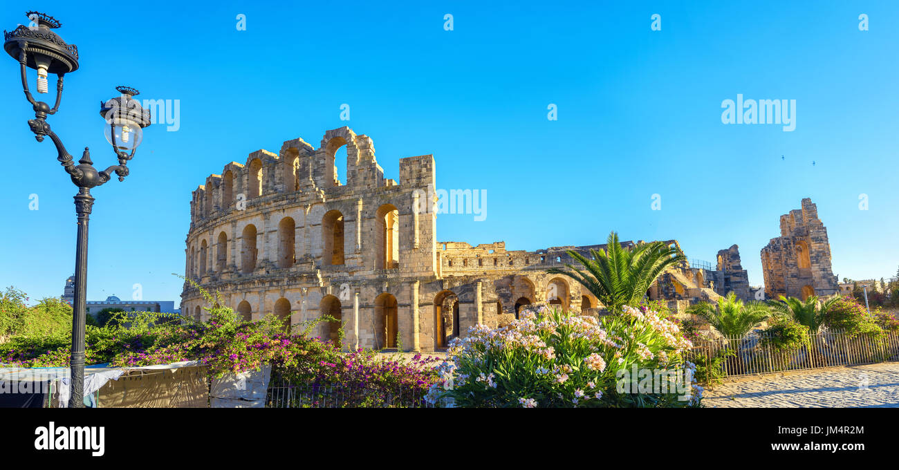 Panoramic view of ancient roman amphitheater in El Djem. Mahdia governorate, Tunisia, North Africa - Stock Image