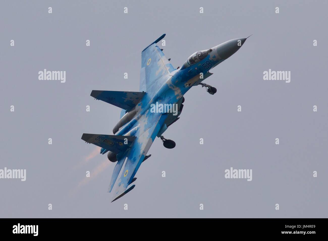 Ukrainian Air Force Sukhoi Su-27 with its undercarriage deployed - Stock Image