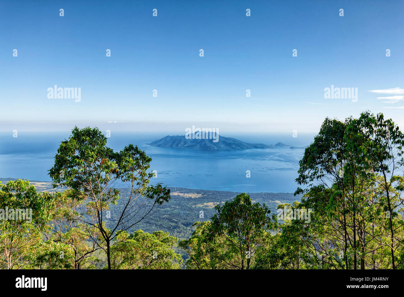 View of Pulau Besar island from Mount Egon, a stratovolcano on Flores in Indonesia. - Stock Image