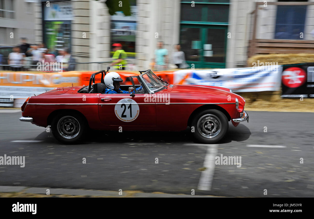 MGB Roadster at the historic grand prix Bressuire France - Stock Image