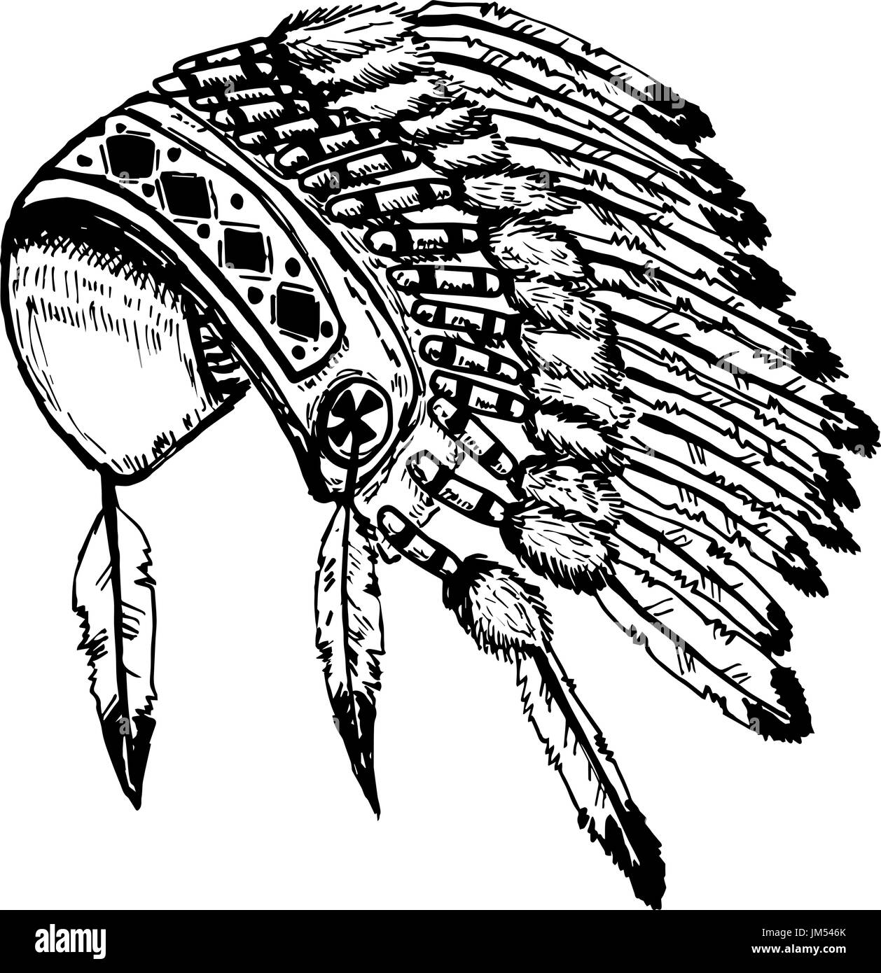 Native american indians chief headdress isolated on white background vector illustration - Stock Image