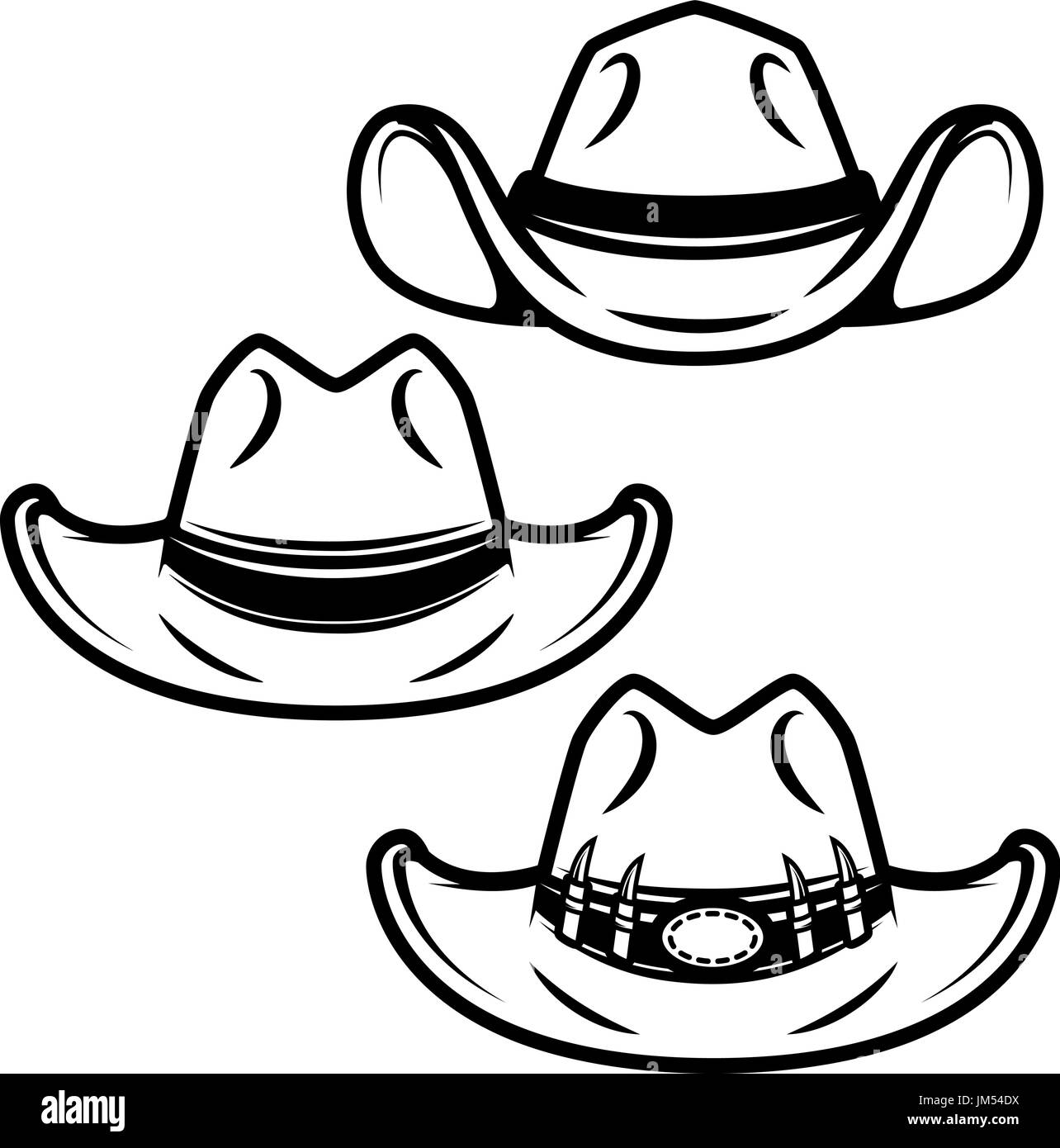 Set of cowboy hats isolated on white background. Design element for logo, label, emblem, sign. Vector illustration - Stock Image