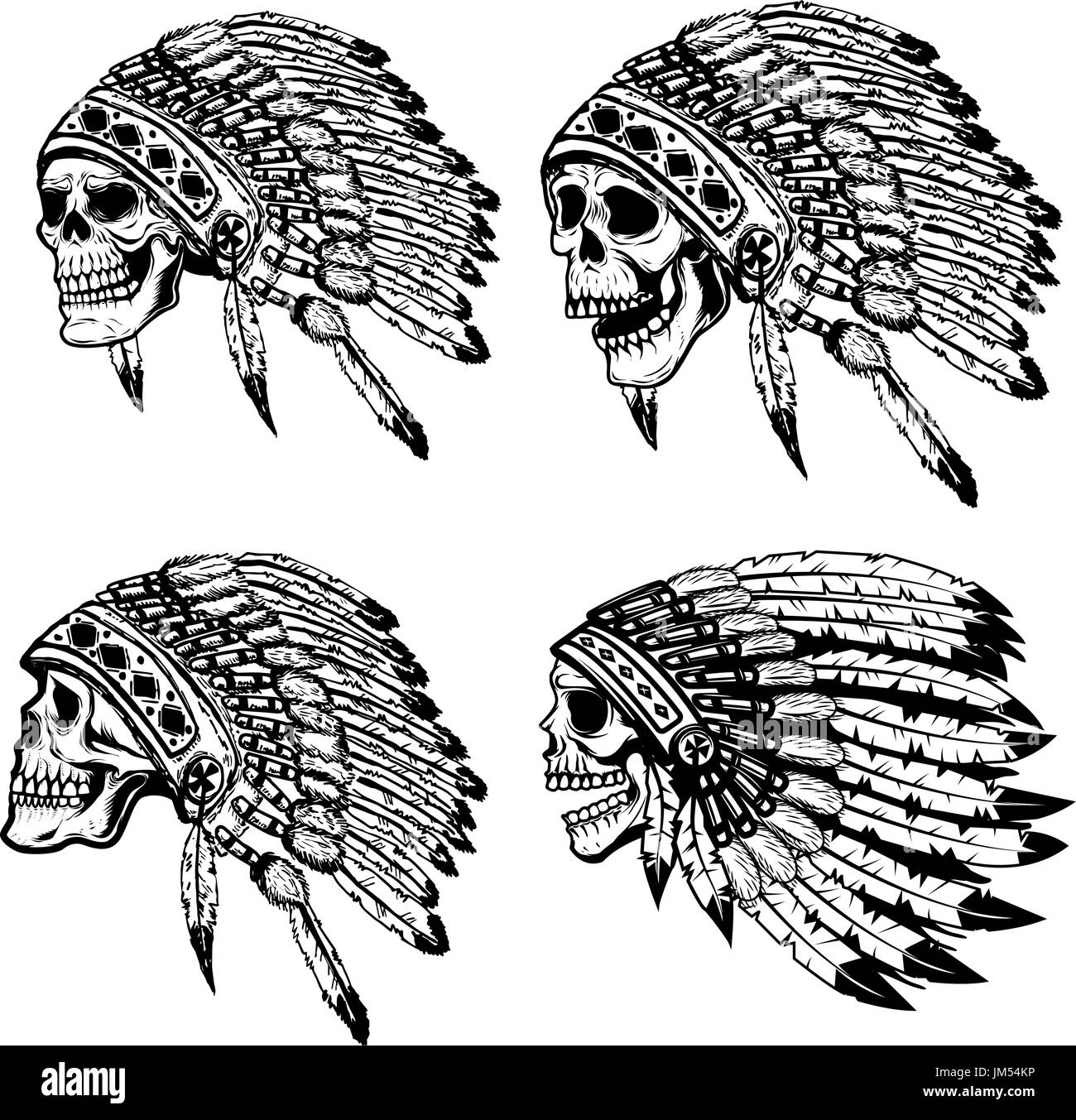 Set of the skulls in native american headdress. Design elements for poster, t-shirt. Vector illustration - Stock Image