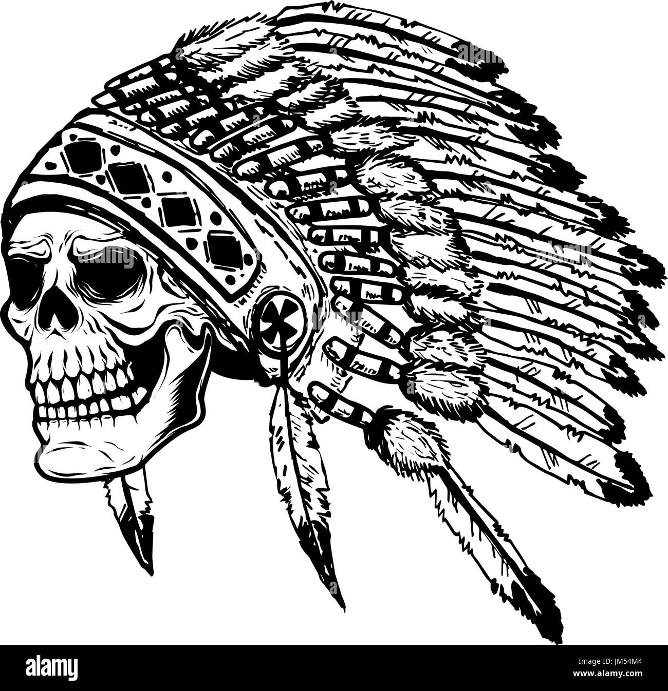 skull in native american indian chief headdress. Design element for poster, t-shirt. Vector illustration. - Stock Image