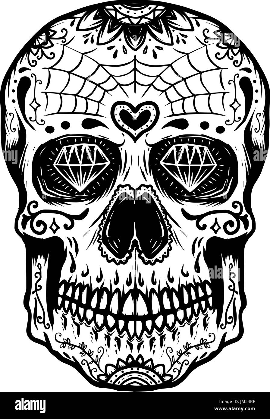 Hand Drawn Sugar Skull Isolated On White Background Day Of The Dead