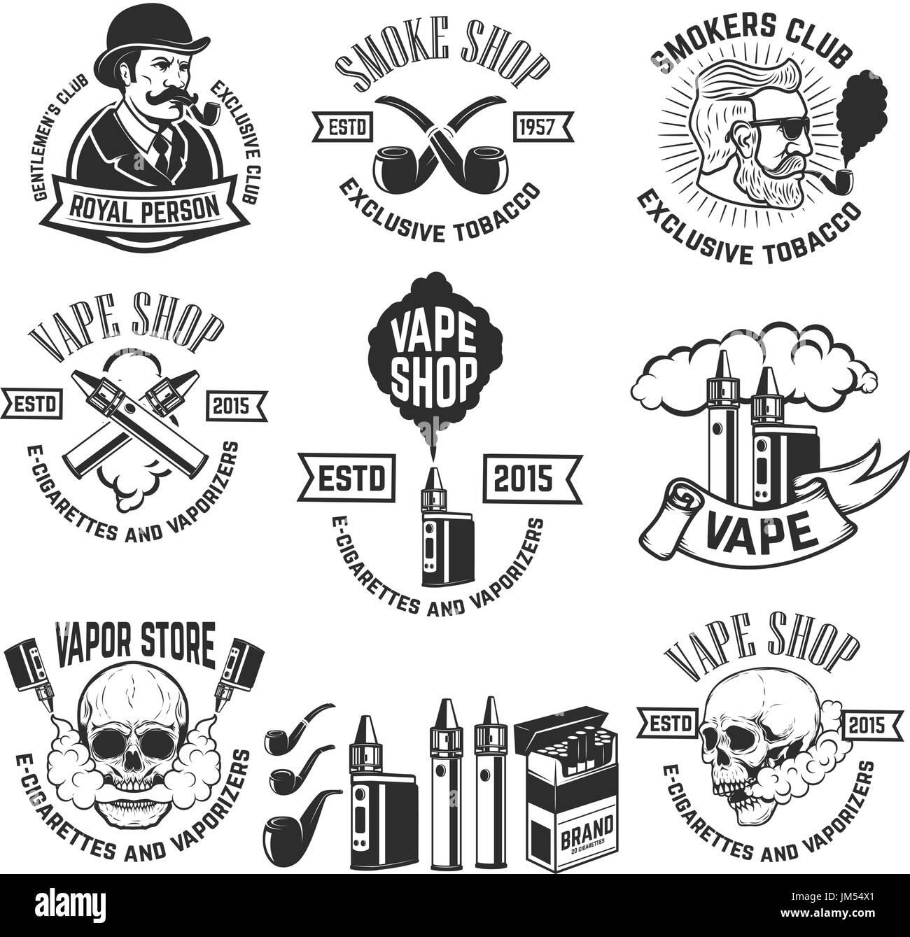 Set of vape shop emblem templates. Smoke shop. Design elements for logo, label, badge, sign. Vector illustration - Stock Image