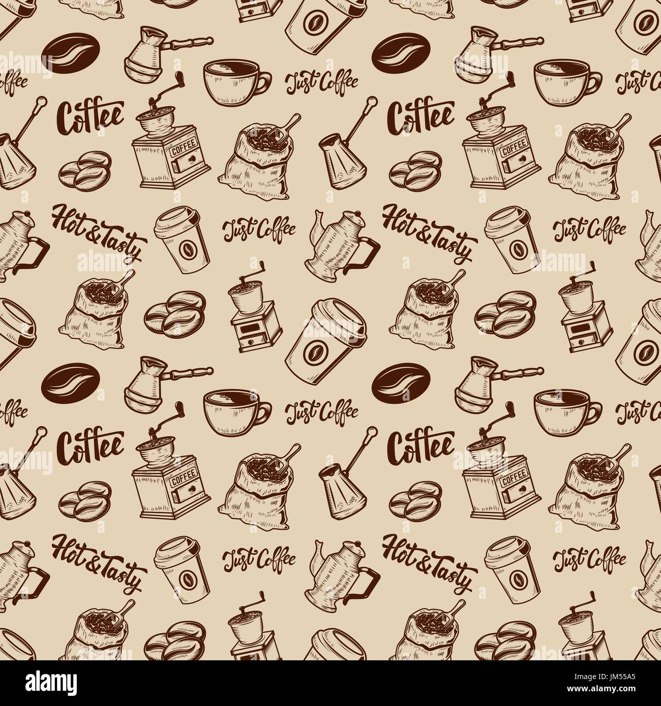 Coffee seamless pattern. Coffee beans, mills, cups.  Design element for poster, wrapping paper. Vector illustration - Stock Vector
