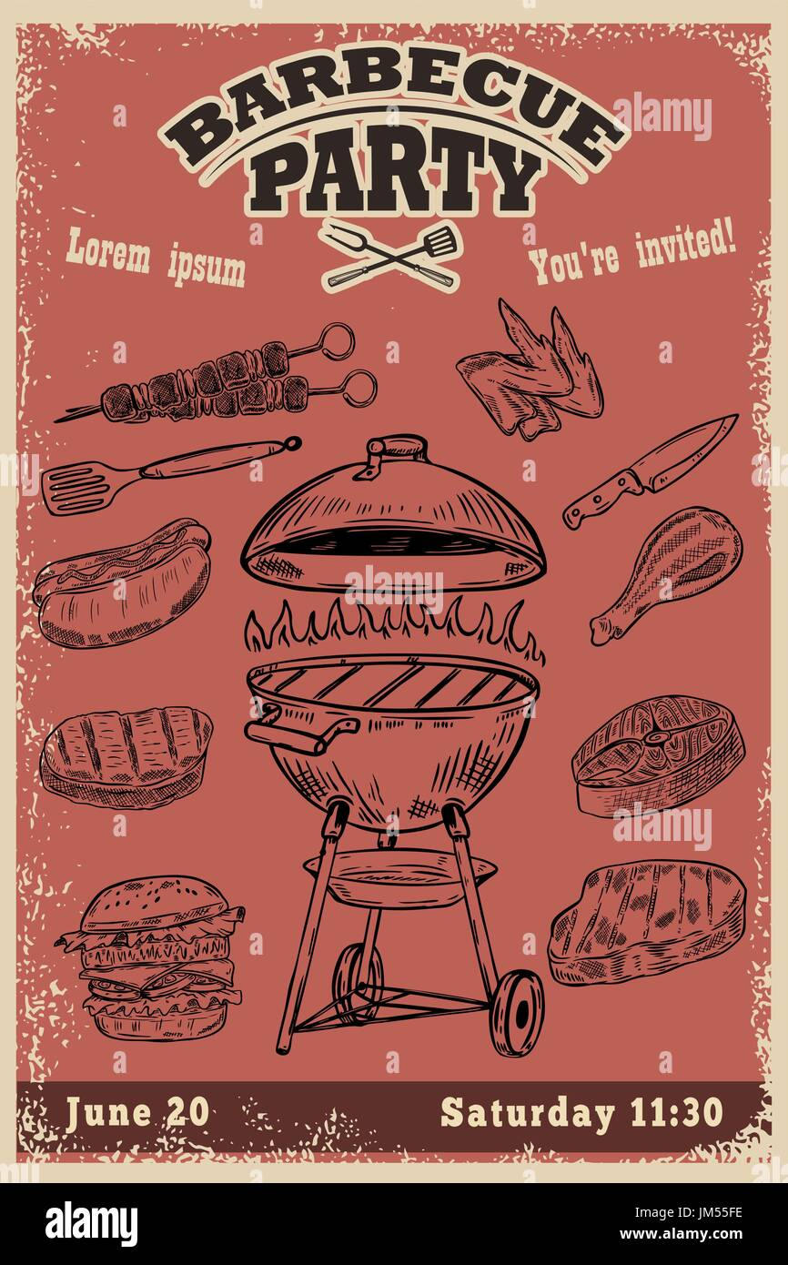 Barbecue party invitation template. Hand drawn BBQ and Grill design ...