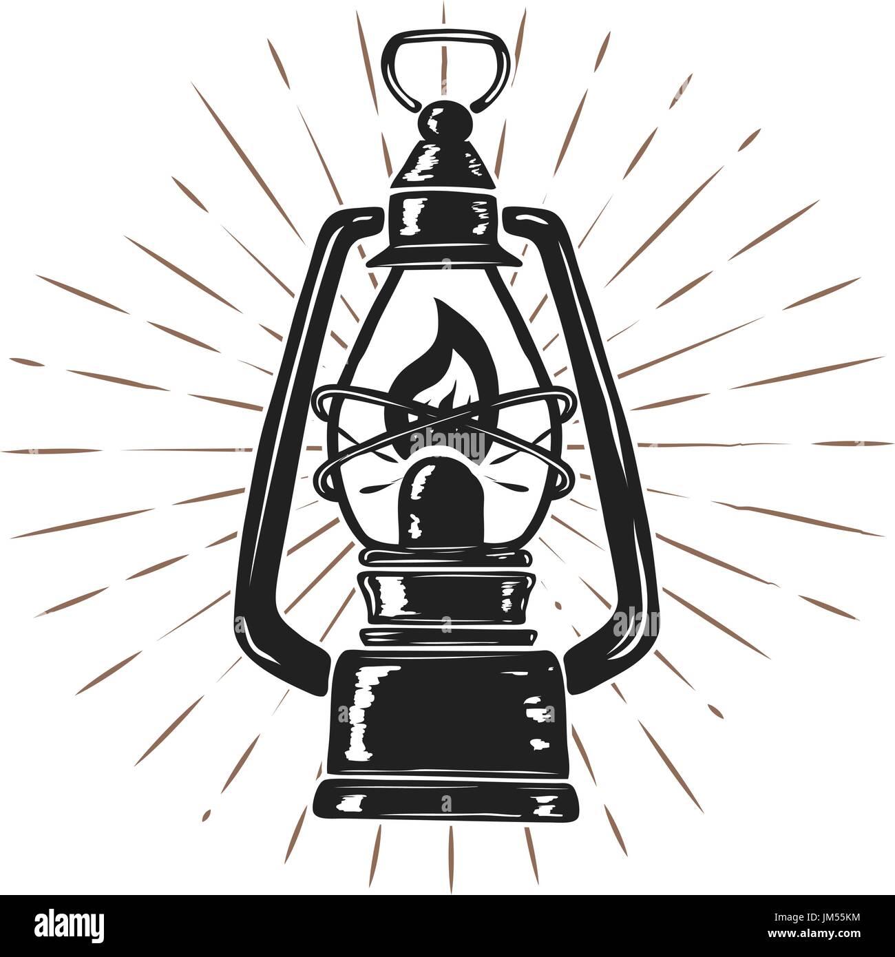 Vintage hand drawn kerosene lamp on sunburst background. Design element for logo, label, emblem, sign, poster. Vector illustration - Stock Vector