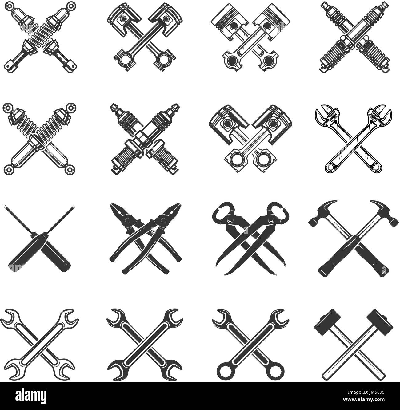 Set of the crossed tools and car parts. Design elements for logo ...