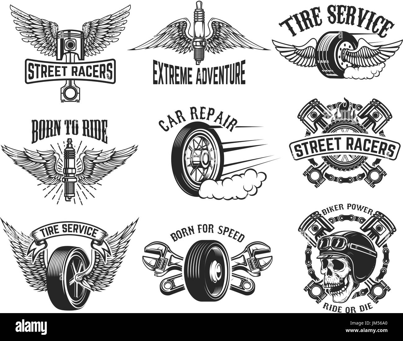 Set of tire service, car repair labels  Design elements for logo