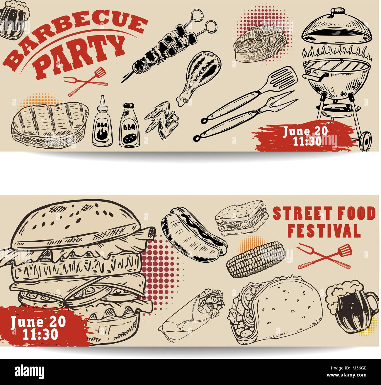 Set of bbq party invitation templates on light background. Grill, beer,meat, burger ,steak. Street food festival Stock Vector