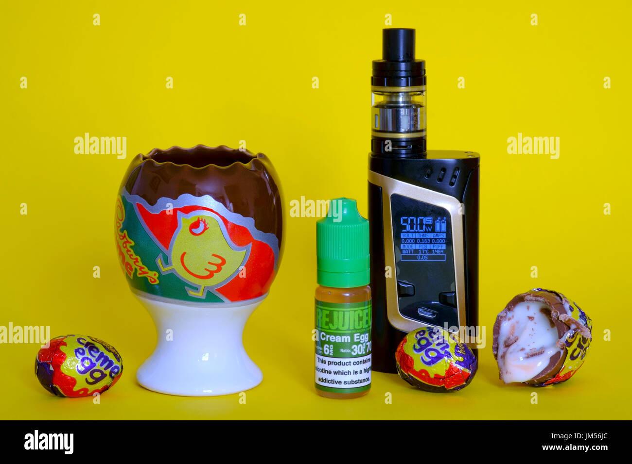 e liquids for electronic device vaping and vaporising mod - Stock Image