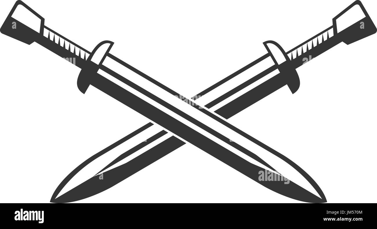 Two crossed swords isolated on white background. Vector illustration - Stock Image
