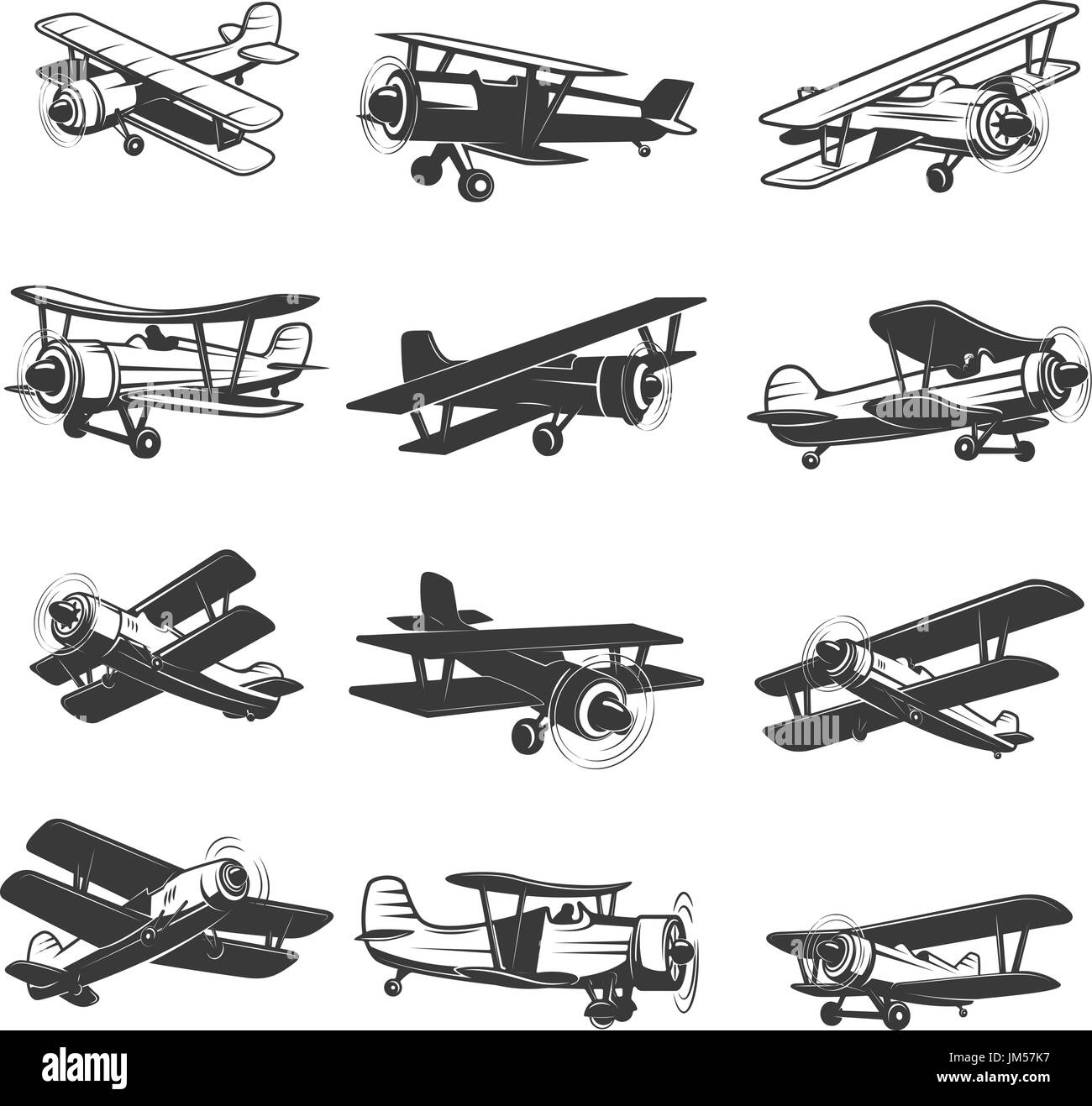 set of vintage airplanes icons. Aircraft illustrations. Design element for logo, label, emblem, sign. Vector illustration. - Stock Image