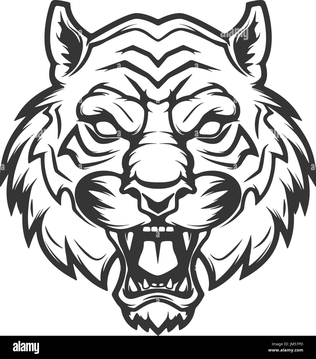 tiger head illustration isolated on white background. Images for logo, label, emblem. Vector illustration. - Stock Image