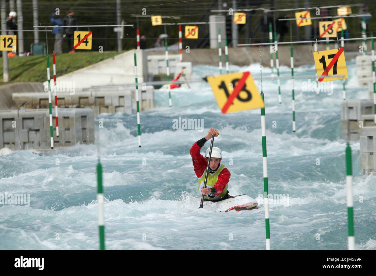 Robert Fernie competes at Lee Valley White Water Centre during British selection for the team GB for European and World championships. - Stock Image