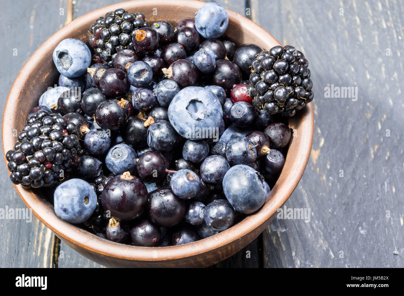 Photo of berries from close. Deep depth of field. Decoration of forest berries. - Stock Image