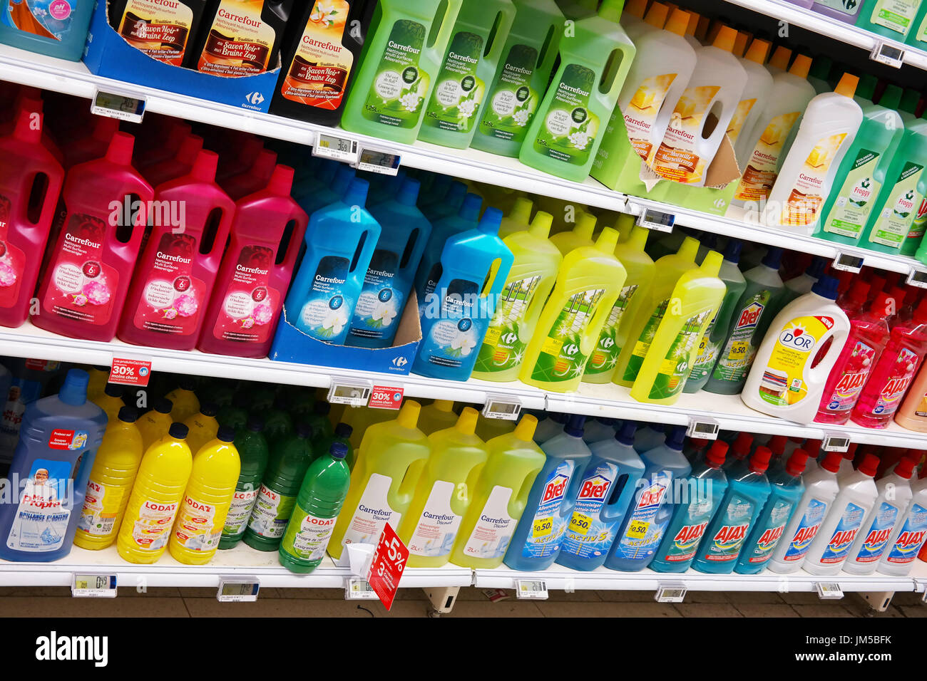 Cleaning products in a supermarket - Stock Image