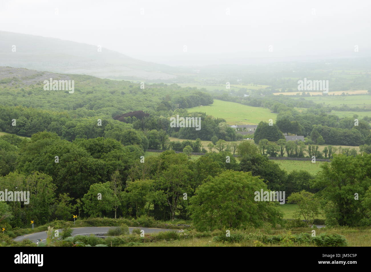 View of the area from the Corkscrew Hill in the County Clare, west Ireland - Stock Image