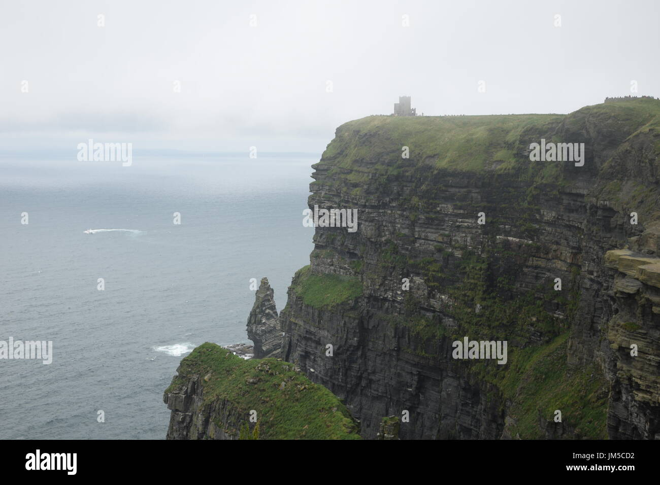 View of the Cliffs of Moher with O'Brien's Tower and Branaunmore sea stack in the County Clare, west Ireland Stock Photo