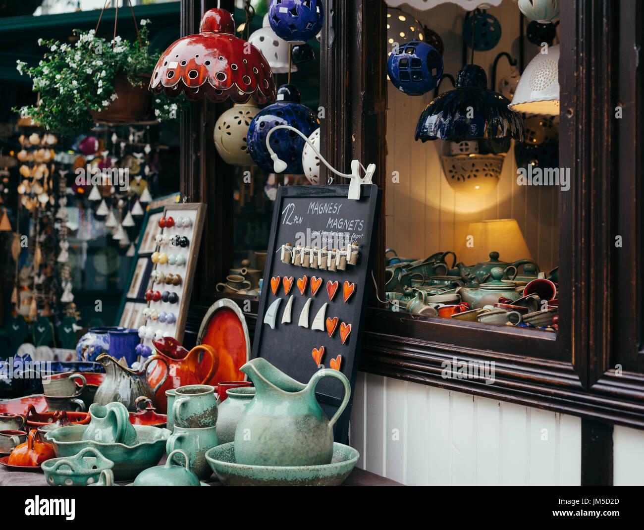 Souvenirs shop showcase in Sopot, Poland  Ceramic gifts Stock Photo