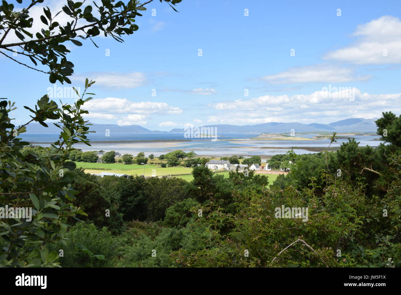 View of the Clew Bay from the top of the Croagh Patrick in the County Mayo, Ireland Stock Photo