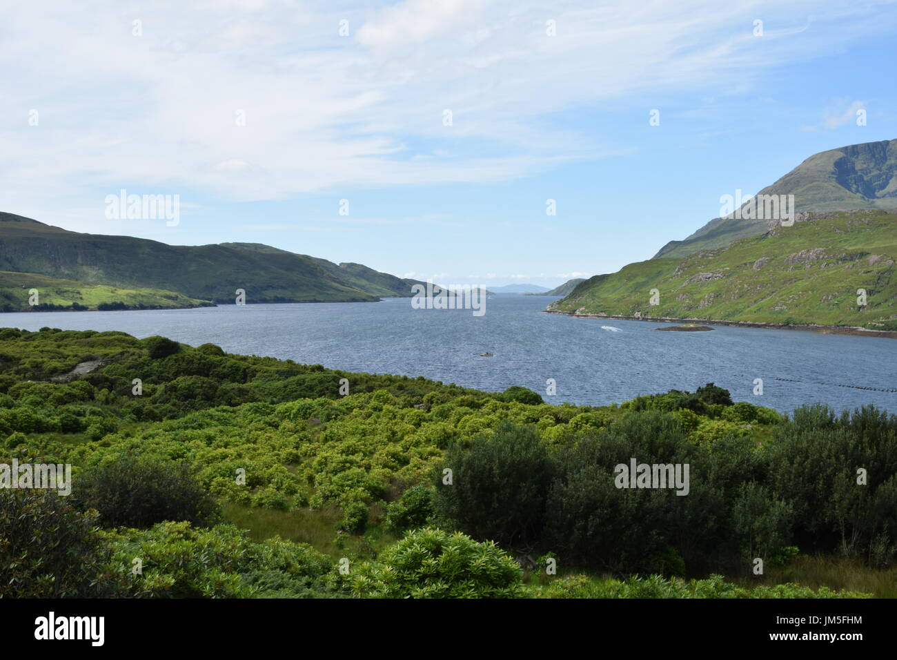 View of Killary Harbour from the road N59 in the County Galway, Ireland - Stock Image
