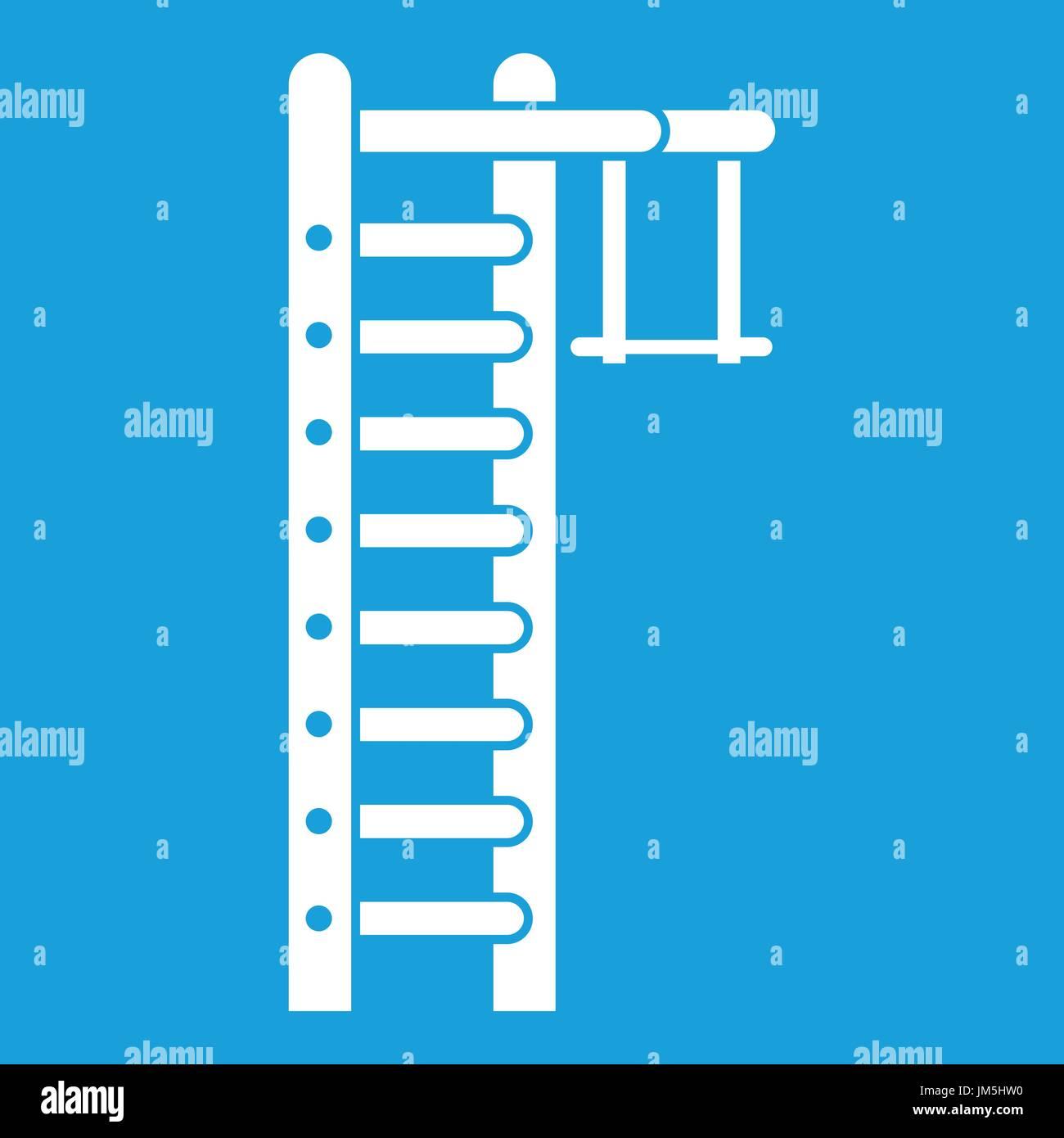 Swedish ladder icon white - Stock Image