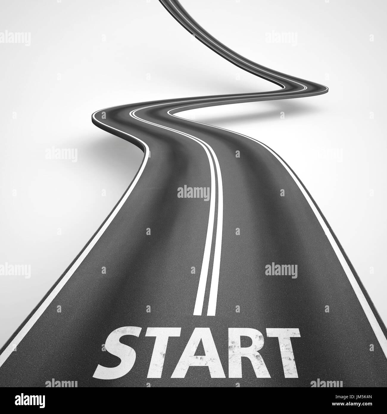 Start road. 3D Rendering - Stock Image