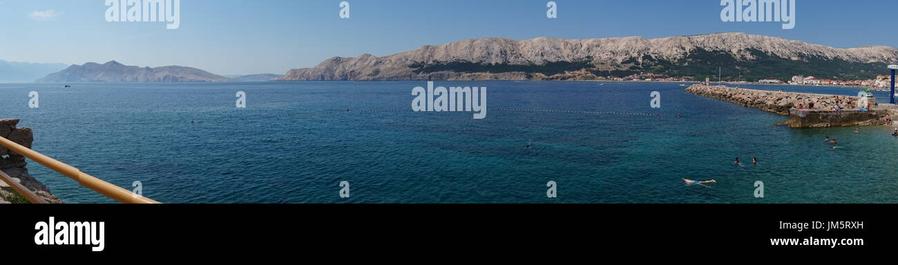 view from Baska beach onto the western part of Krk island Stock Photo