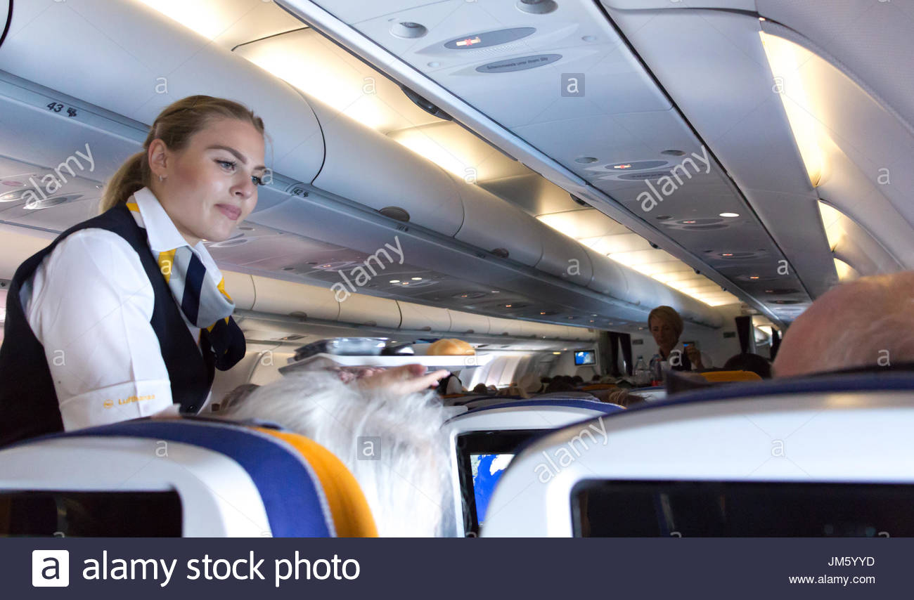 Munich, Germany - July 16, 2017:  A female flight attendant of Lufthansa Airlines is serving the lunch to a passenger. - Stock Image