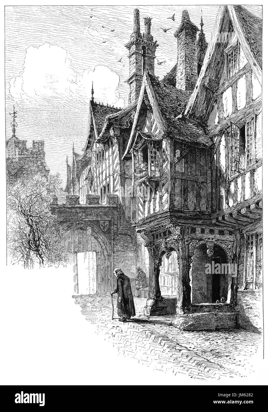 1870: The entrance to the porch of Leicester's Hospital.  The Hospital is a historic group of timber-framed buildings in Warwick High Street dating mainly from the late 14th Century. In the reign of Queen Elizabeth I it became a place of retirement for old warriors known as the Brethren. The Brethren and Master, who still live within the walls of the building, are a living legacy of almost 450 years of history,  Warwickshire, England. - Stock Image
