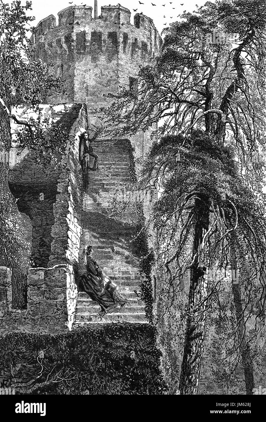 1870: Guy's tower and the walls of medieval  Warwick Castle situated on a bend of the River Avon. It was rebuilt in stone in the 12th and 14th centuries and has been used as a stronghold until the early 17th century, Warwickshire, England, - Stock Image
