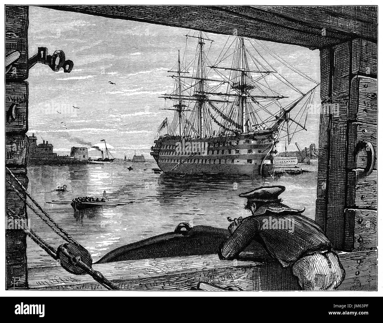 1870: 1870: An old tar (sailor) viewing HMS Victory in Portsmouth Harbour off Gosport. She is a 104-gun first-rate ship of the line of the Royal Navy, ordered in 1758, laid down in 1759 and launched in 1765. She is best known for her role as Lord Nelson's flagship at the Battle of Trafalgar in 1805. Hampshire, England. - Stock Image