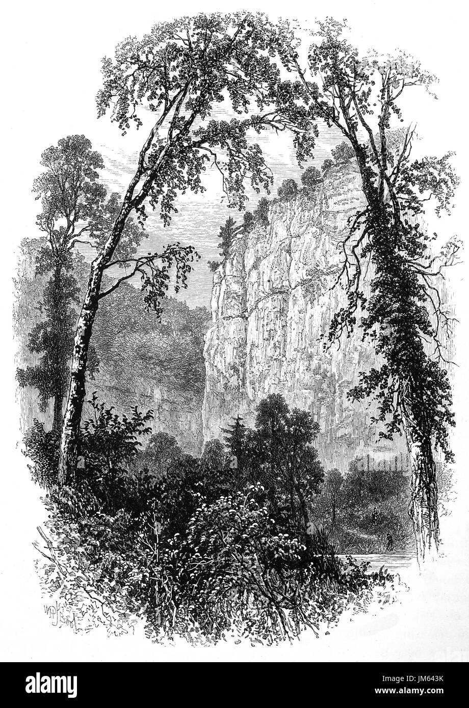 1870: The 300-foot (91 m) high cLiff of Chee Tor in Chee Dale,  northwards from Millers Dale, Derbyshire, England - Stock Image