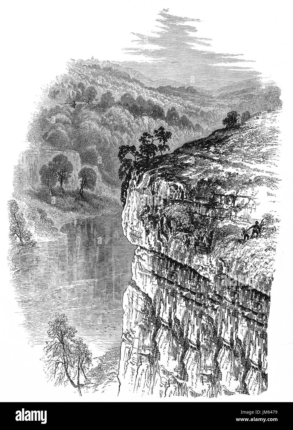 1870: Walkers on cliffs overlooking Lytton or Litton Vale  in the Peak District of Derbyshire, England Stock Photo
