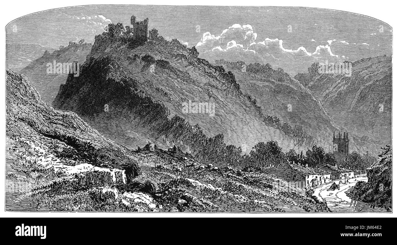1870: Peveril Castle aka Castleton Castle and Peak Castle  is a ruined 11th-century castle overlooking the village of Castleton in Derbyshire, England. - Stock Image