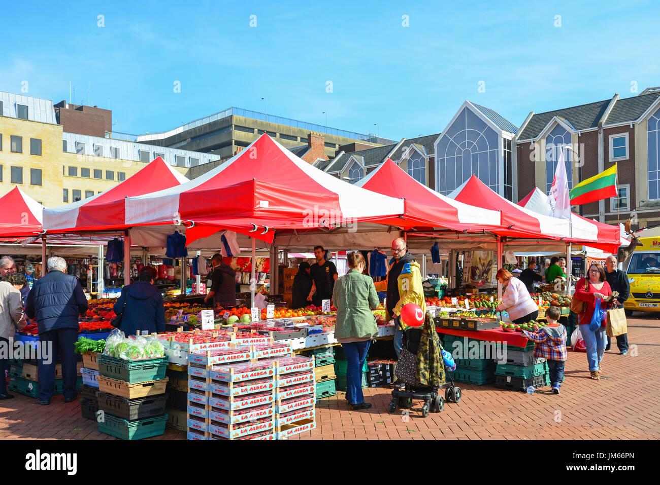 Northampton Market, The Market Square, Northampton, Northamptonshire, England, United Kingdom - Stock Image