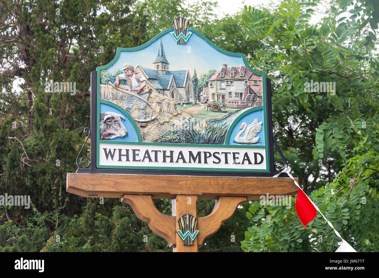 Wheathampstead Village sign, High Street, Wheathampstead, Hertfordshire, England, United Kingdom - Stock Image