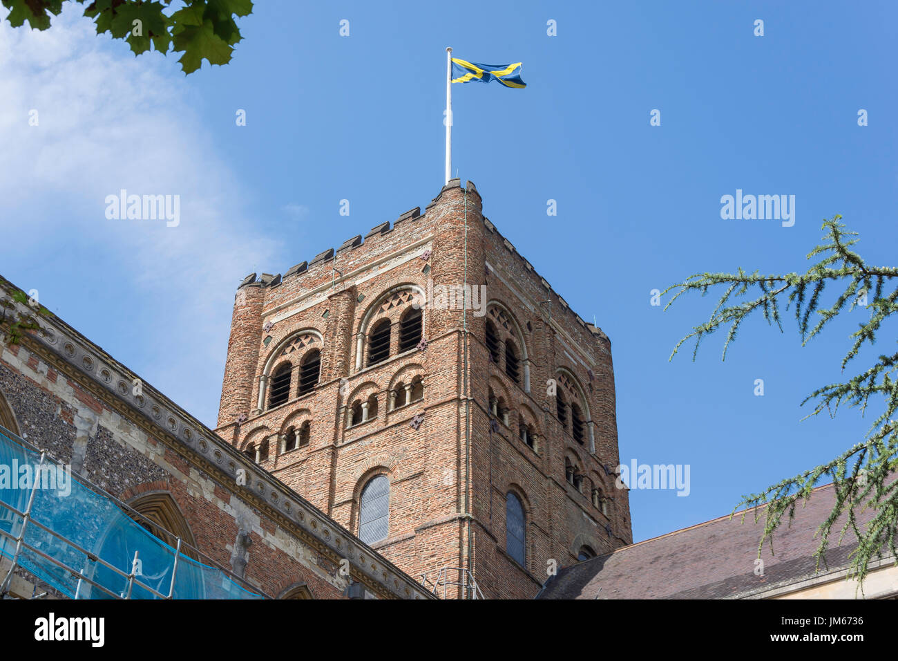 Abbey Church tower, St.Albans, Hertfordshire, England, United Kingdom - Stock Image