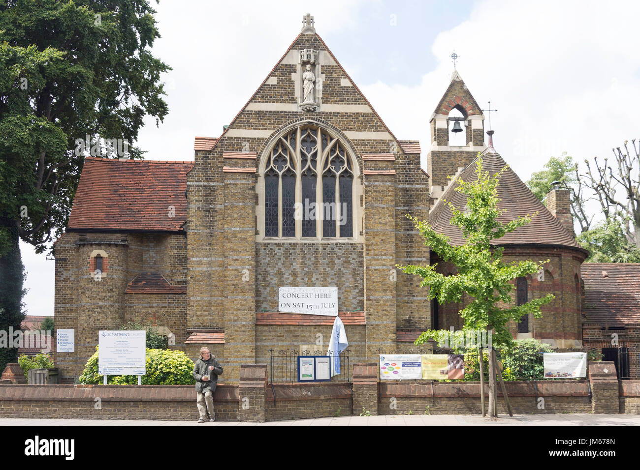 St. Matthew's Church, High Street, Yiewsley, London Borough of Hillingdon, Greater London, England, United Kingdom - Stock Image