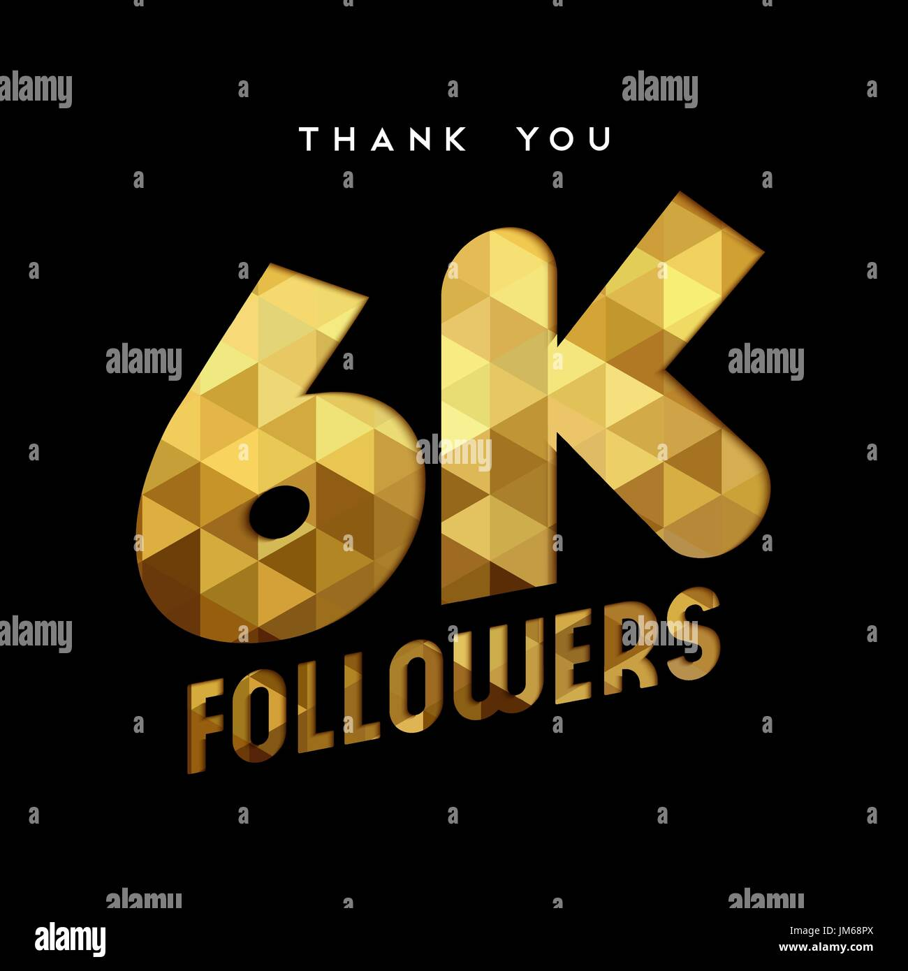 6000 followers thank you gold paper cut number illustration. Special 6k user goal celebration for six thousand social media friends, fans or subscribe - Stock Image