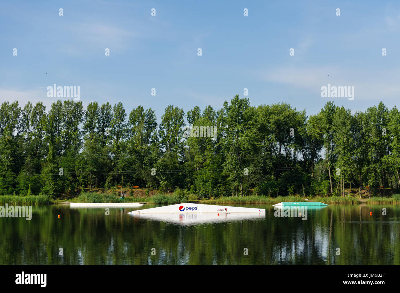 Wakeboarding / Cable skiing obstacles /  Wake Zone Stawiki in Sosnowiec, Poland - Stock Image