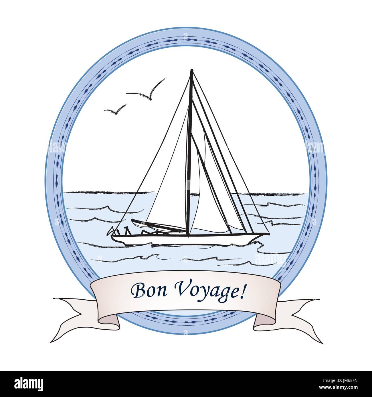 Bon Voyage vintage travel card  Yacht in ocean banner
