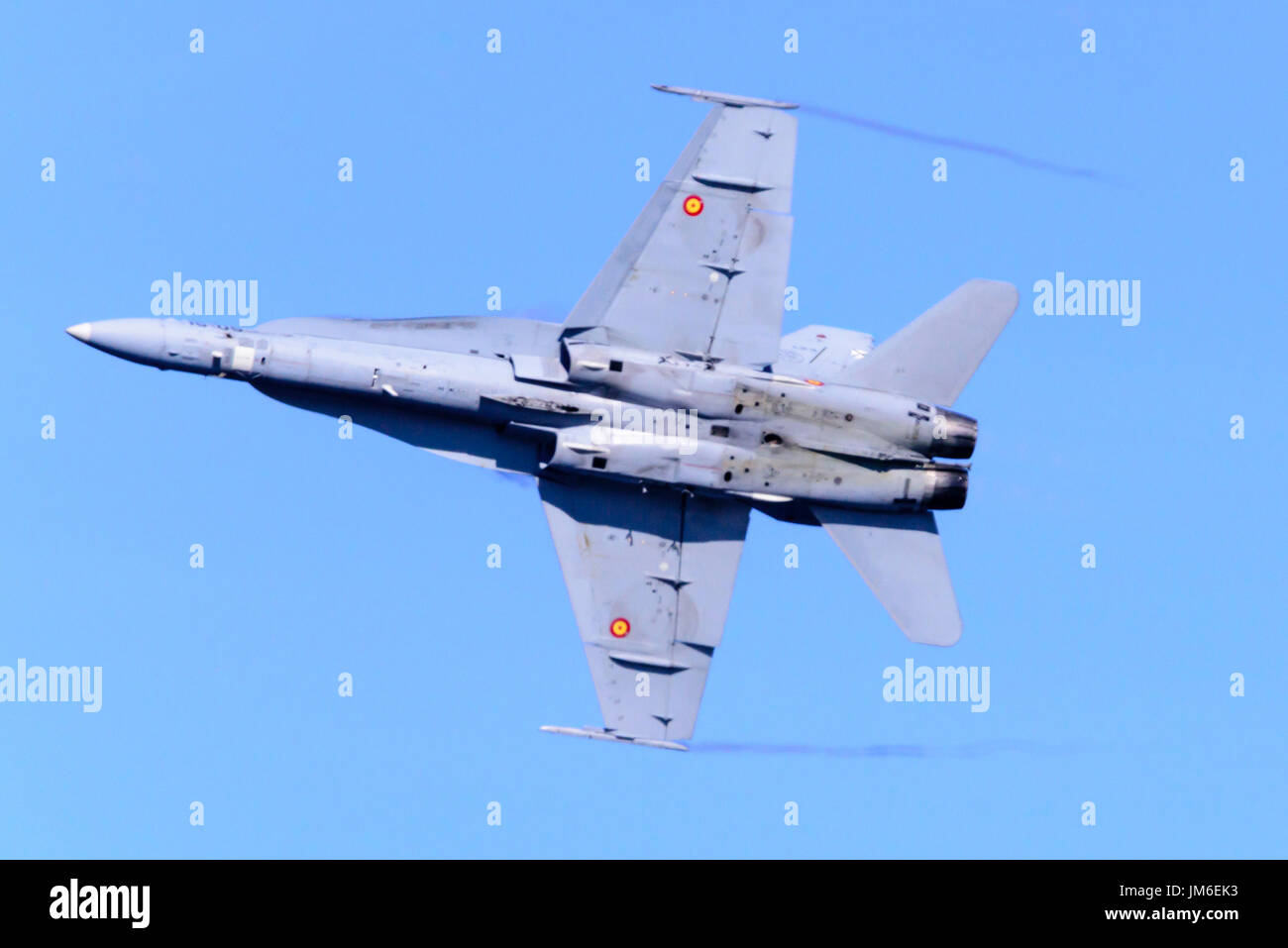 McDonnell Douglas EF-18 F-18 Hornet supersonic jet fighter from the Spanish Air Force. Stock Photo