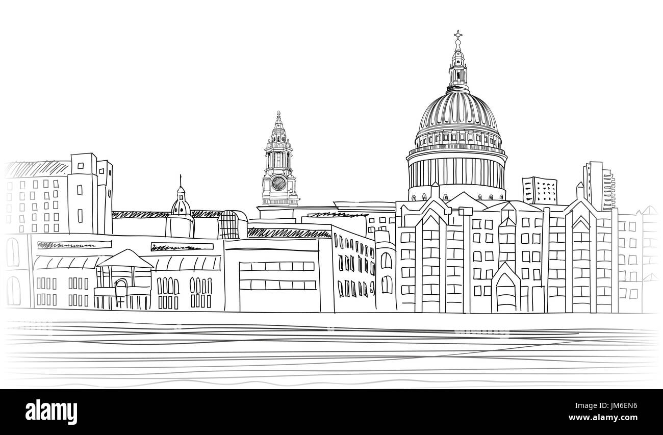 St Paul's Cathedral. London landscape with River Thames, England UK . Hand drawn pencil vector illustration. - Stock Image