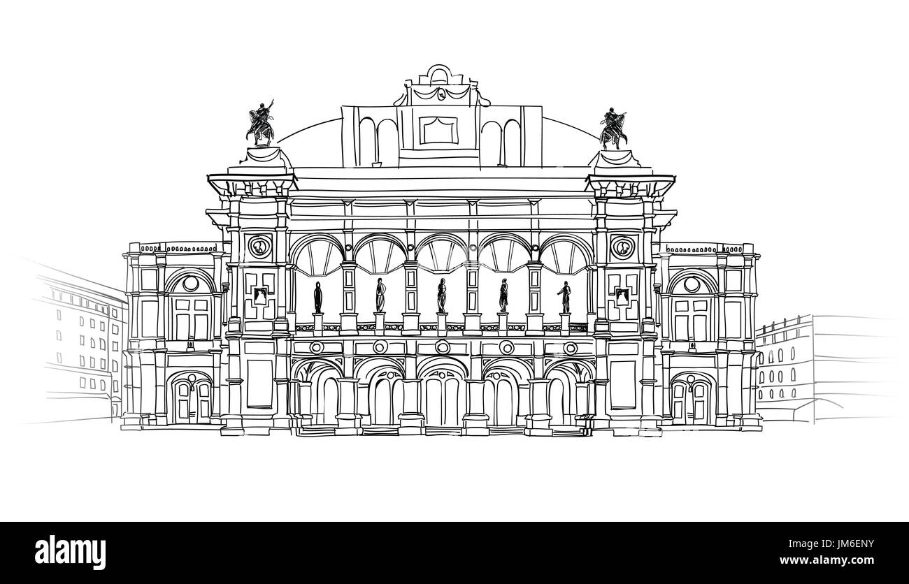 Vienna State Opera House, Austria. Wien Theater Wiener Staatsoper Building isolated. Architectural blueprint sketch. - Stock Image